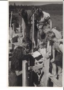 Ryhmä lapsia kokoontunut tutkimaan vihkon sisältöä.