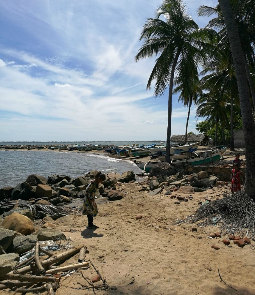 Kolme lasta hiekkarannalla palmujen juurella. Taustalla pitkä rivi veneitä ja vuohia ja pari rakennusta.