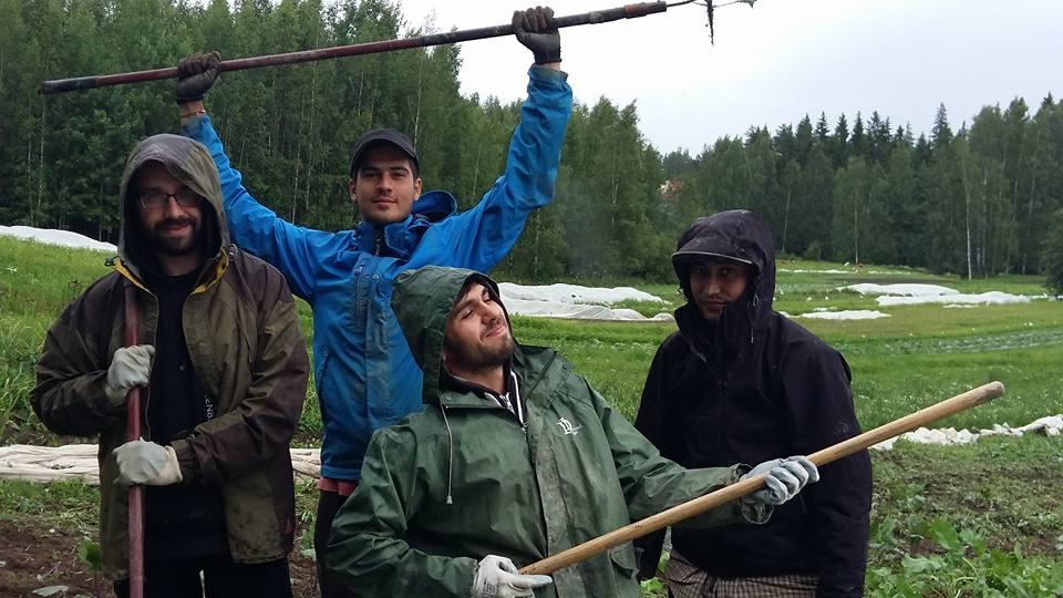 neljä vapaaehtoista puutarhatyökalujen kanssa